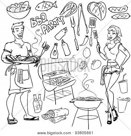 BBQ party - hand drawn vector