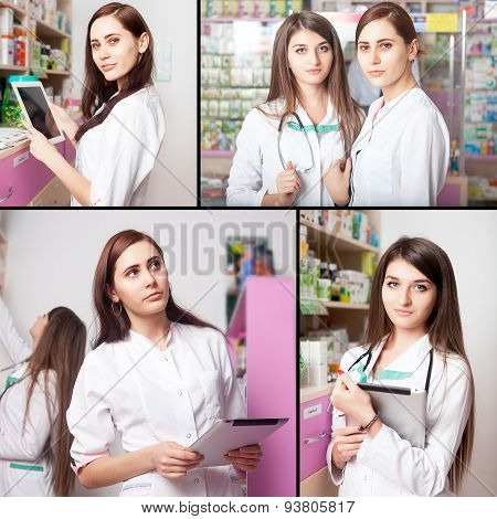 Pharmacist Woman With Digital Tablet In Hands
