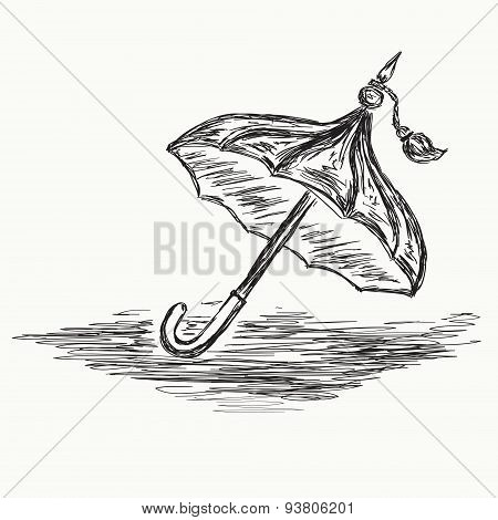 Sketch Umbrella. Vector .