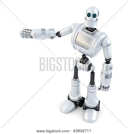 Robot Showing An Invisible Object. Isolated. Contains Clipping Path