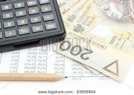 Money, Pencil And Calculator Lying On Spreadsheet