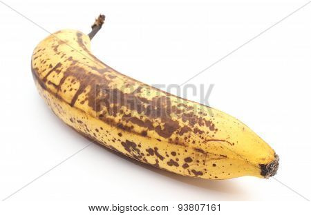 Old And Overripe Banana On White Background