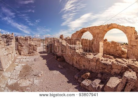 Ancient Arches At Kourion Archaeological Site. Limassol District. Cyprus