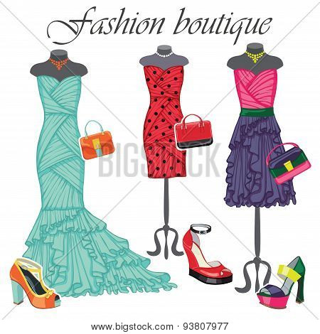 Three colored dresses with accessories.Fashion illustration