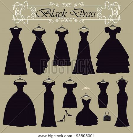 Silhouette of black party dress set.Flat design