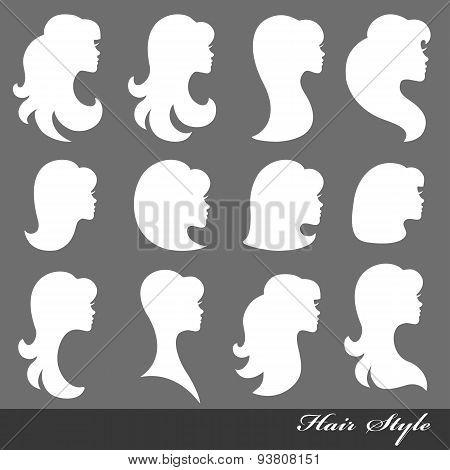 Girl face silhouette.Profiles Hair style.Logo set