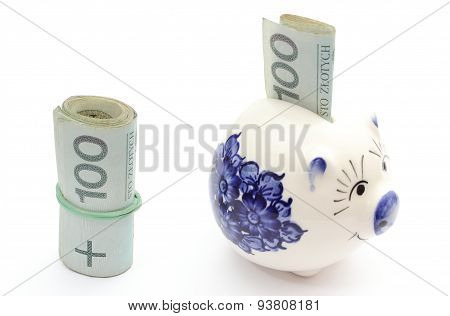 Piggy Bank And Roll Of Banknotes On White Background