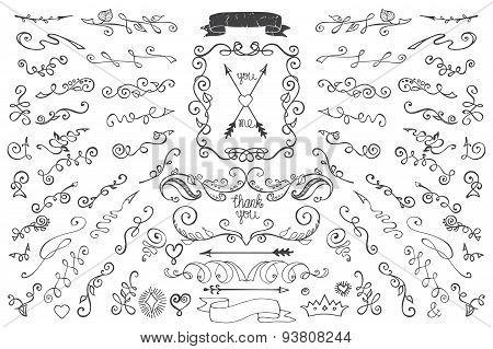 Doodles border,arrows,decor element. Floral hand sketched