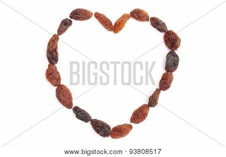 Heart Of Raisins Isolated On White Background