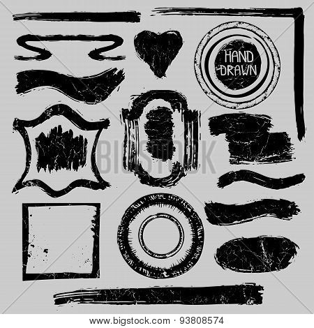 Distressed Stamps set.Grunge badges,labels,frame