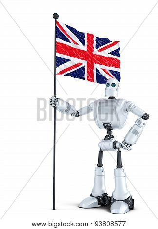 Android Robot Standing With Flag Of Uk. Isolated. Contains Clipping Path