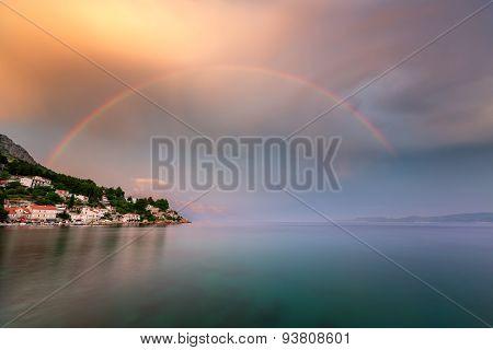 Rainbow Over The Small Village In Omis Riviera After The Rain, Dalmatia, Croatia