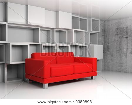 Abstract Interior, White Cubic Shelves, Red Sofa 3D