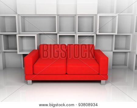 Abstract Interior, White Cubic Shelves, Red Sofa