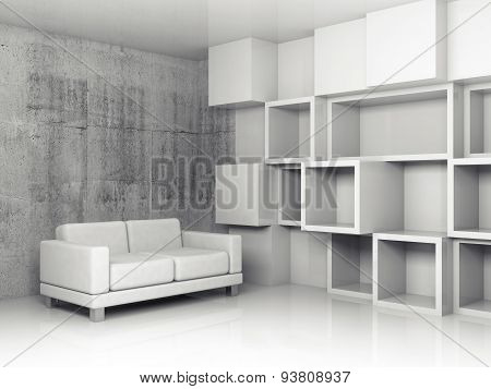 White Sofa in abstract 3d interior