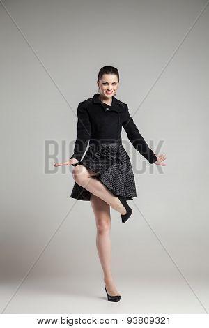 Elegant glamour woman wearing black skirt and blouse