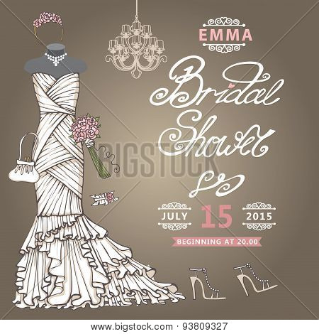 Bridal Shower  invitation.Cute wedding dress