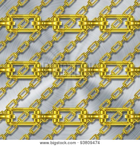 Iron Chains with Brushed Metal Generated Texture