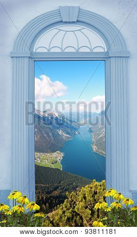 View Through Arched Door, Lake View In The Alps