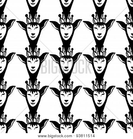 Vector hipster seamless pattern with black queen deers. Graphic illustration.