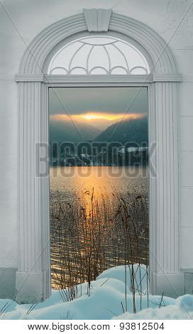 View Through Arched Door, Sunset Winter Lake