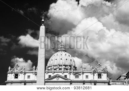 St Peter Cathedral And Obelisk In Dramatic Black And White