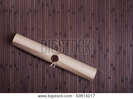 Parchment Scroll With Wax Seal - Stock Image