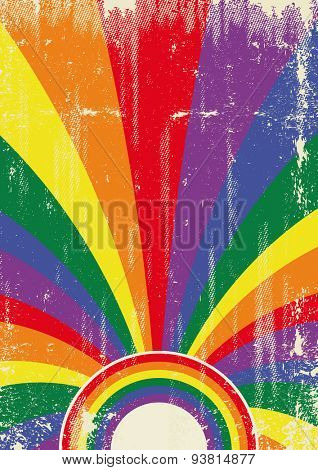 Gay retro sunbeams poster. A vintage gay poster with sunbeams and a a texture for your advertising