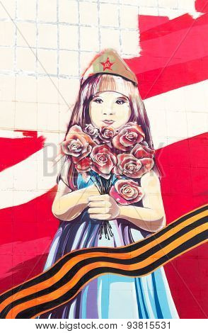 Young Russian Child With Flowers Painting