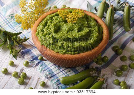 Homemade Mashed Green Beans Close Up Horizontal