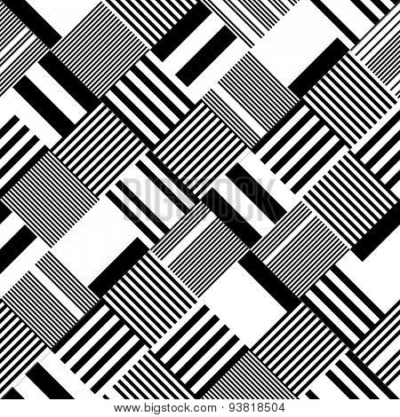 Square and Stripe Pattern. Abstract Monochrome Background. Vector Regular Texture