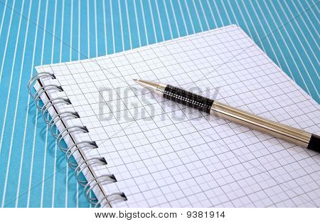 Graph paper notepad and pen