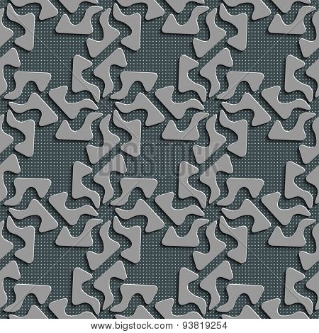 Seamless Curved Shape Pattern. Abstract Gray Background. Vector Regular Texture