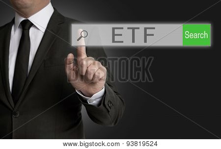 Etf Internet Browser Is Operated By Businessman