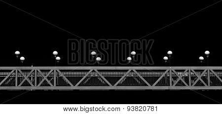 Bridge fragment in black and white photo
