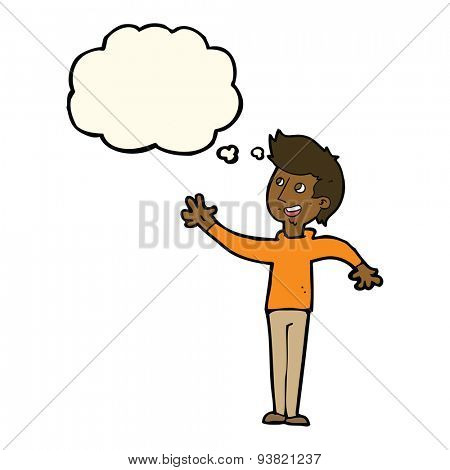 cartoon man waving with thought bubble