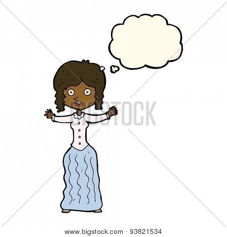 cartoon worried victorian woman with thought bubble