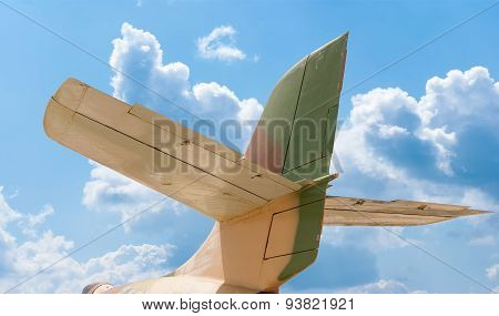 Tail Of Aircraft, Blue Sky Background