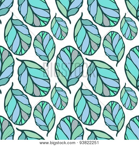 Seamless pattern with leaves. Spring summer doodle stylised background.
