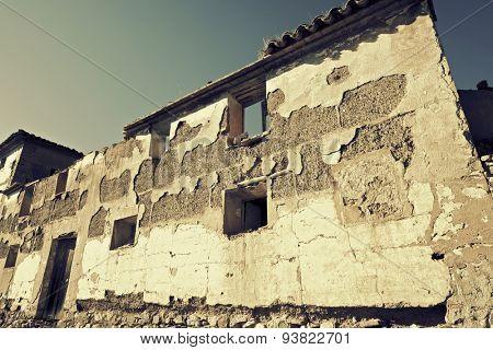 Abandoned rural building in Zaragoza Province, Aragon, Spain.