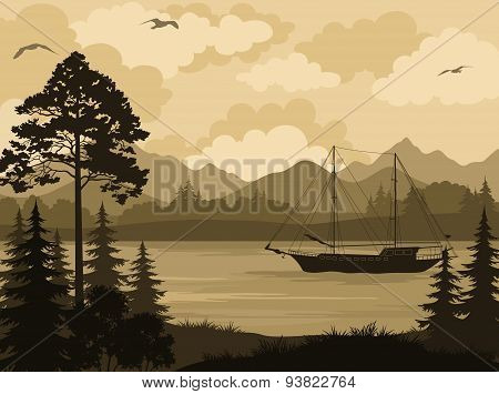 Landscape with Ship on Mountain Lake and Trees