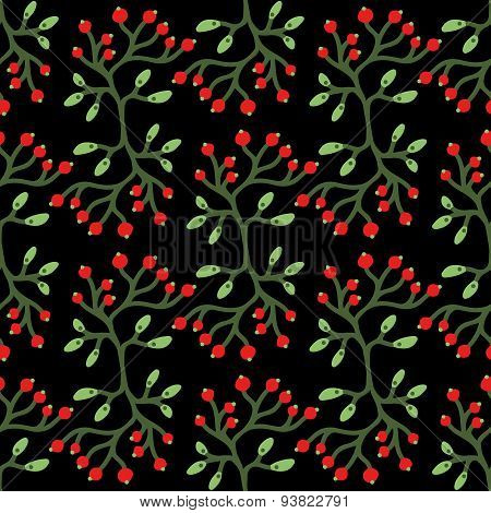 Vector floral seamless pattern with berries, branches and leaves. Bright berries and leaves on the d