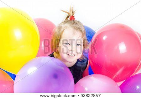 Baby Girl And Ballons