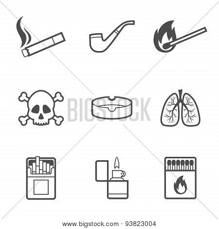 Smoking vector line style icons set. 9 elements