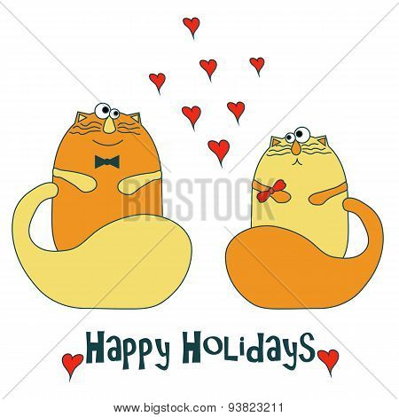 Stock Vector Cats in love
