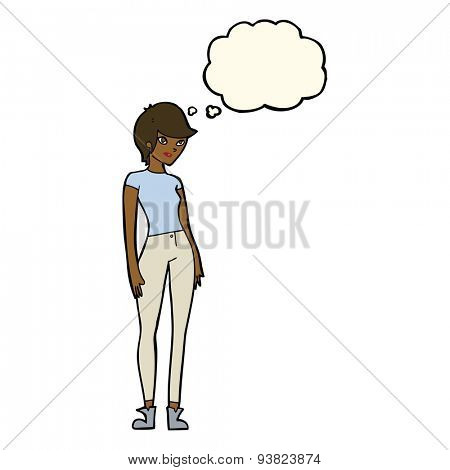 cartoon modern attractive woman with thought bubble