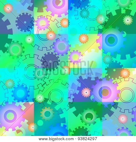 Seamless Mechanics Colorful Background