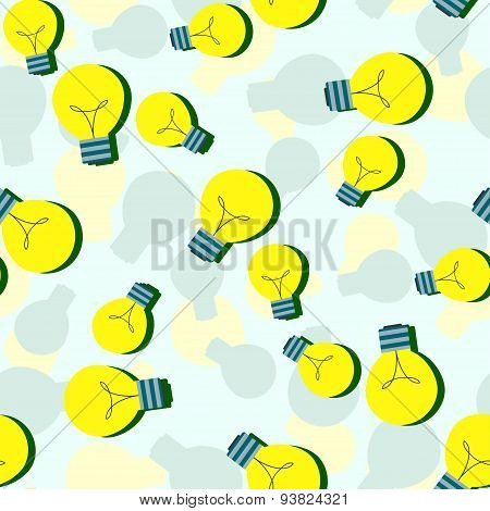 Vector seamless pattern with flat light bulbs. Simple background with yellow bulb. Minimalist vector