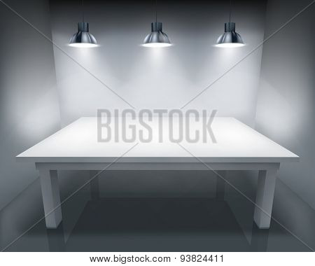 Illuminated table. Vector illustration.