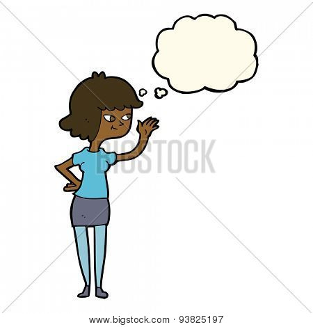 cartoon friendly girl waving with thought bubble